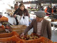 Op de biologische markt in Turijn